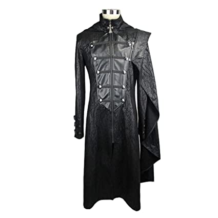 4aea79fe7a Amazon.com  BYF Leather Stitching Men s Detachable Cloak Trench Coat ...