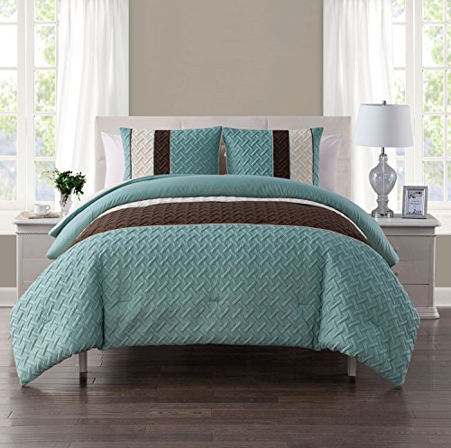 King Size Comforter Set In Aqua Luxe Geometric Pattern 3