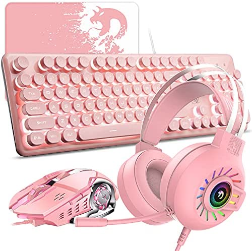 Rosa Teclado Mouse Combo Set 104 teclas Teclado para juegos con retroiluminación LED + 2400 dpi Ratón óptico + Auriculares Rainbow Light+Alfombrilla ...