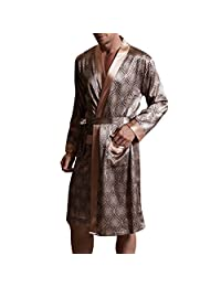 Amybria Men High Quality Silk Pajamas Nightgown/Robe One Piece