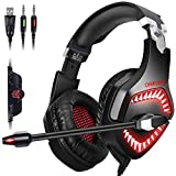 ONIKUMA Gaming Headset PC PS4 Headset for PS4, PC, Xbox One Controller, Mac, Nintendo Switch ?50mm Driver??7.1 Surround Sound?Over-Ear Gaming Headphones with Microphone, Soft Memory Earcup & LED Light