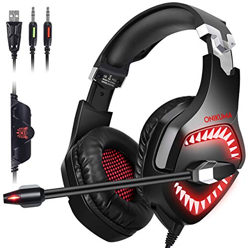 ONIKUMA Gaming Headset PC PS4 Headset for PS4, PC, Xbox One Controller, Mac, Nintendo Switch 【50mm Driver】【7.1 Surround Sound】Over-Ear Gaming Headphones with Microphone, Soft Memory Earcup & LED Light (Best Xbox 360 Headset For The Money)
