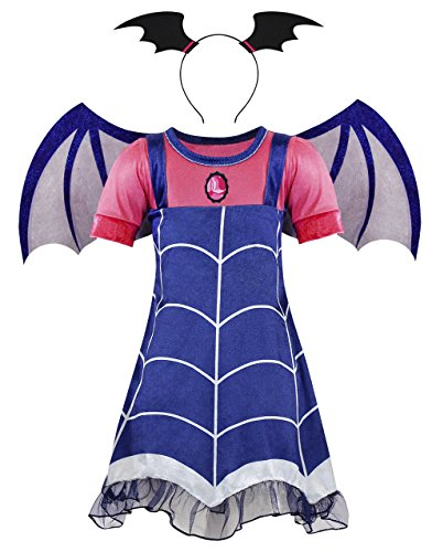 (AmzBarley Girls Vampire Dress up Costumes Cosplay Party Lace Casual Dress with Wing for Birthday Holiday Age 7-8 Years Size)