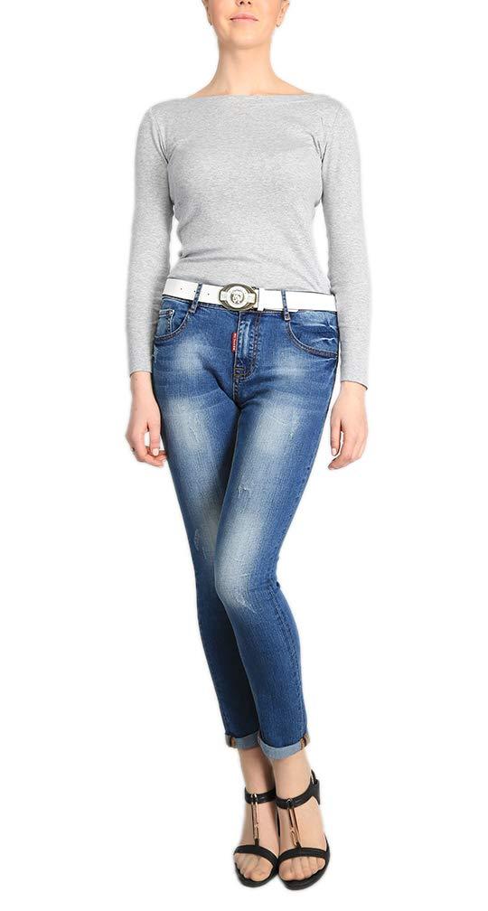 Women's Juniors Distressed Slim Fit Stretchy Skinny Denim Jeans with Belt 4