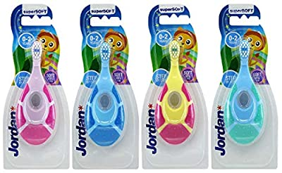 Jordan Step 1 Baby Toothbrush, 0-2 Years, Soft Bristles, BPA Free (4 Pack)