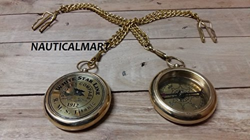 """New Handcrafted Nautical Decor Solid Brass Gentlemen's Pocket Compass with Beautiful SET of 2 Brass Chain 10"""""""