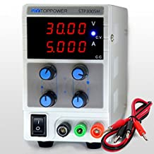 SKYTOPOWER 4 Digit LED Displays Variable 110v DC Power Supply ac dc 0- 30V 0- 5A Switchable 110/220V with Alligator Cable