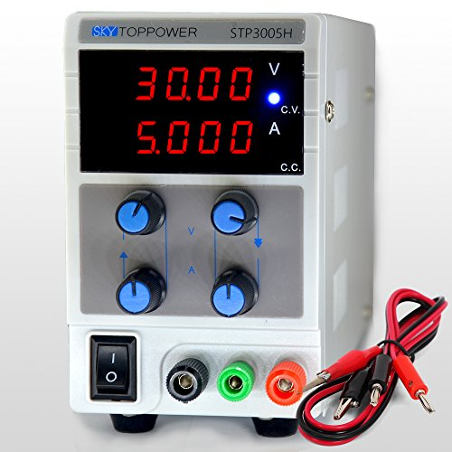 Adjustable DC Power Supply, Variable 30V 5A High Resolution 10mV and 1mA Displays Regulated ac to dc with Alligator Cable by SKYTOPOWER