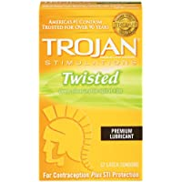 Trojan Condom Stimulations Twisted Pleasure Lubricated, 12 Count