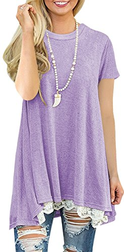 Womens Short Sleeve A-Line Flowy Tunic Tops Lace Trim Shirt Blouse 4X-Large Light Purple -