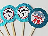 8 Thing 2 Thing 1 Cupcake Toppers Favors Girl Boy Birthday Party Favor Tags Bags Dr Seuss Supplies Decoration