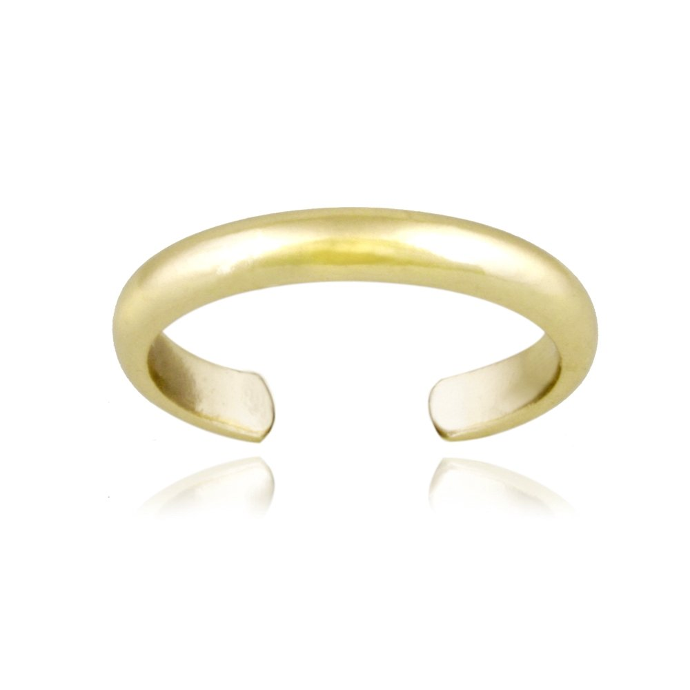 Hoops & Loops Yellow Gold Flashed Sterling Silver High Polished Plain Simple Toe Ring