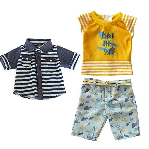 18 inch Baby Boys Doll Clothes Toys,Travel Summer Beach Style Boy Doll Short Coat, Stripe Shirt,Pants with Belt Fit 18 inch American Boy Doll Logan Boy Dolls or other 18'' Doll