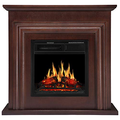 JAMFLY 36'' Wood Electric Fireplace Mantel Package Freestanding Heater Corner Firebox with Log Hearth and Remote Control, 750-1500W Dark Espresso Finish ()