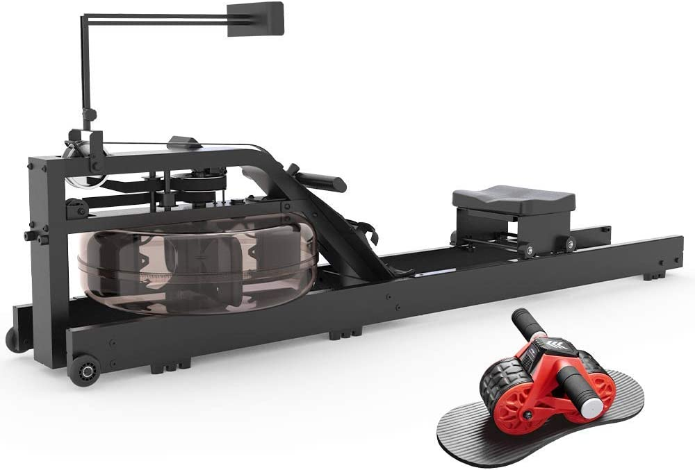leikefitness Water Rowing Machine GM6050(Black) and Ab Carver Wheel Roller 1300 Bundle