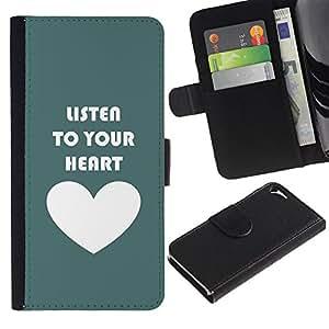 WINCASE Cuadro Funda Voltear Cuero Ranura Tarjetas TPU Carcasas Protectora Cover Case Para Apple Iphone 5 / 5S - verde corazón blanco texto escuchar amor cerceta