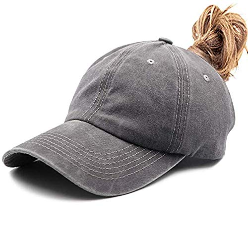- Womens Ponytail Hat Vintage Washed Messy High Buns Ponycaps Baseball Trucker Cotton Adjustable (D1-Grey(High Ponytail))