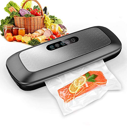 Vacuum Sealer Machine, Automatic Food Vacuum Sealer with Smart Stainless Steel Panel Touch Control, Sous Vide Vacuum Sealer Machine with Dry & Moist Sealing and Starter Kit ()