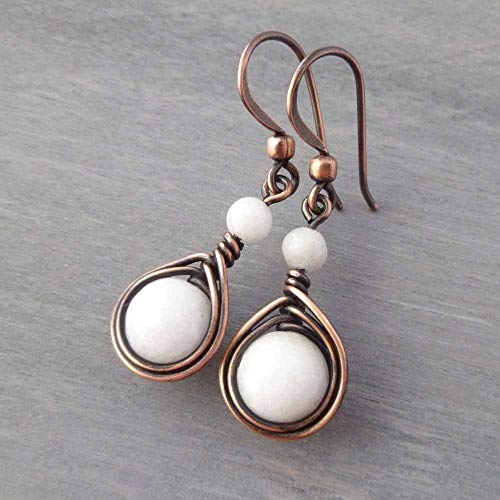 Copper Wire Wrapped Earrings with White stones ()