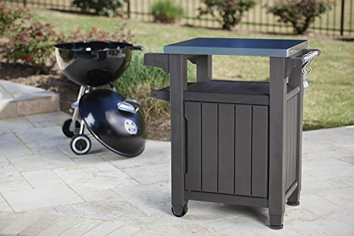 Keter Unity Indoor Outdoor BBQ Entertainment Storage Table/Prep Station with Metal Top, Brown