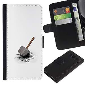 LECELL--Cuero de la tarjeta la carpeta del tirón Smartphone Slots Protección Holder For Samsung Galaxy S3 III I9300 -- Martillo de Thor --