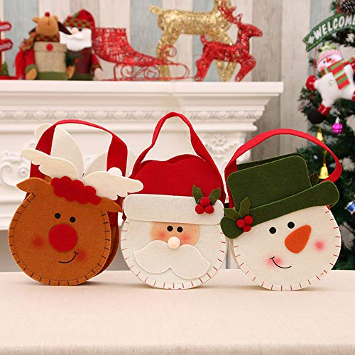 (DUTISON Bags 3 Pack, Santa Sack Backpack Cartoon Hanging Bags Small Christmas Tree Decorations Christmas Treat Candy)