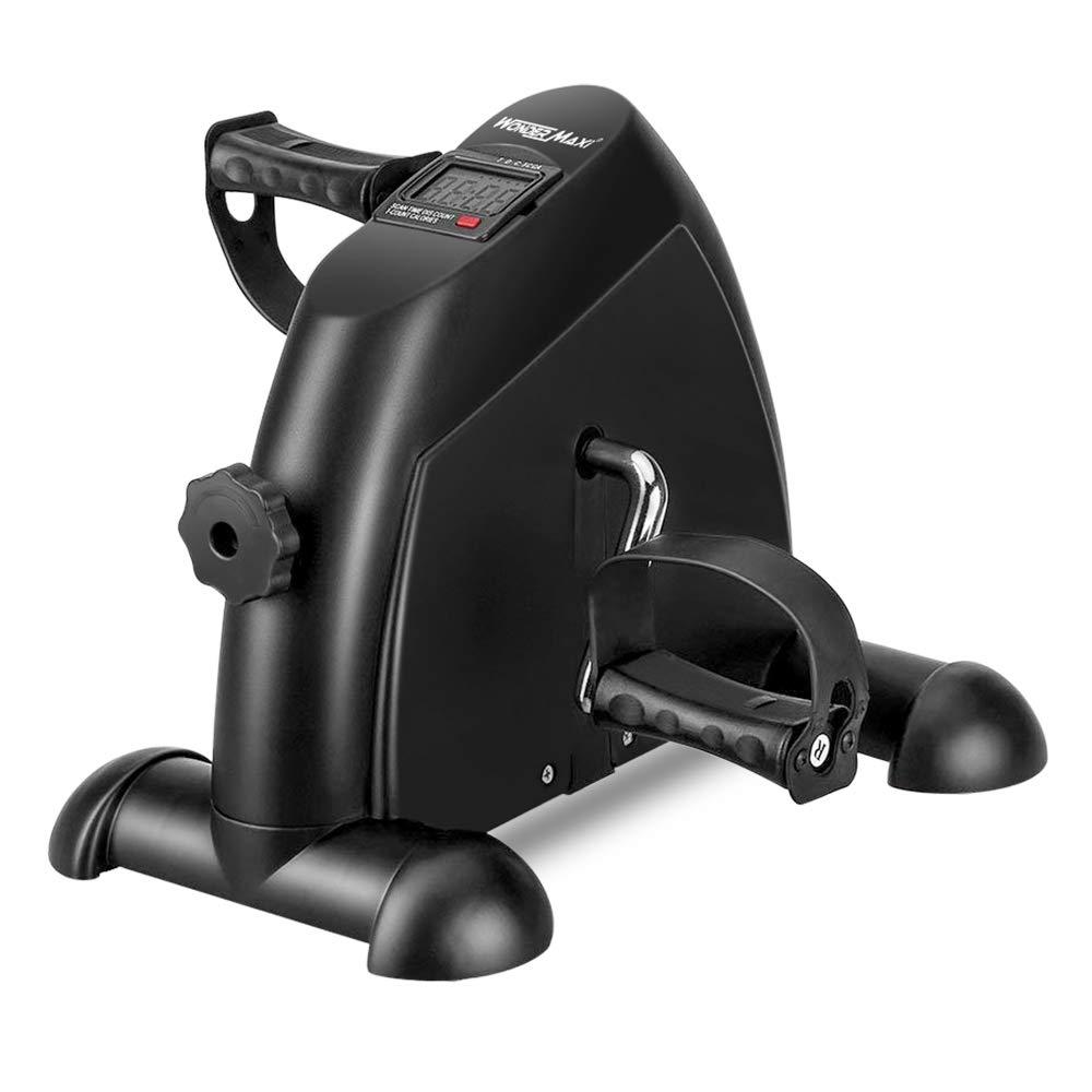Wonder Maxi Under Desk Bike Pedal Exerciser w/LCD Screen Display, Portable Mini Cycle Exercise Bike for Leg/Arm Pedal (Black)