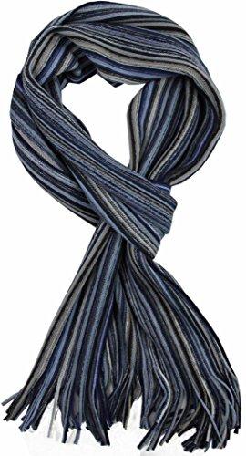 scarf knitwear Raschel stripes fashionable blue 50% merino wool 50% acrylic R-640