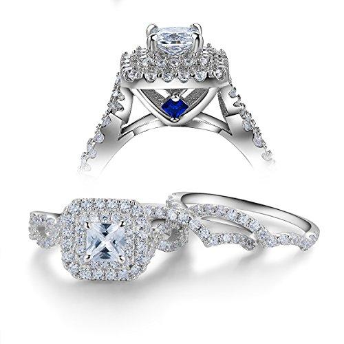 Newshe Wedding Engagement Ring Set for Women 925 Sterling Silver 3pcs 2.4Ct Princess White Cz Sz 5-10