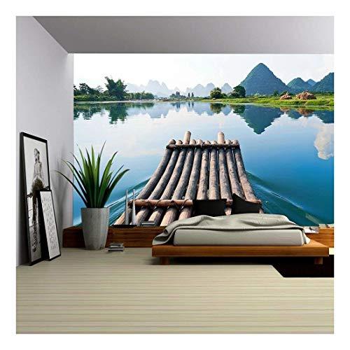 (wall26 - Bamboo Rafting in Li River, Guilin - Yangshou China - Removable Wall Mural | Self-adhesive Large Wallpaper - 100x144 inches)