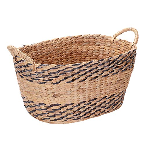 Home Villacera Oval Handmade Twisted Wicker Baskets Made of Water Hyacinth | Nesting Brown and Natural Seagrass Bins | Set of 2