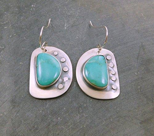 Kingman American Turquoise Asymmetrical Riveted Oxidized Sterling Silver Dangle (Kingman Blue Green)