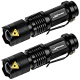 LuxPower Tactical V300 LED Flashlight [2 PACK] - 300 Lumens Best Mini Handheld Light - Portable, Zoomable, Water & Shock Resistant - Ideal for Outdoors, Home, Emergency, or Gift-Giving