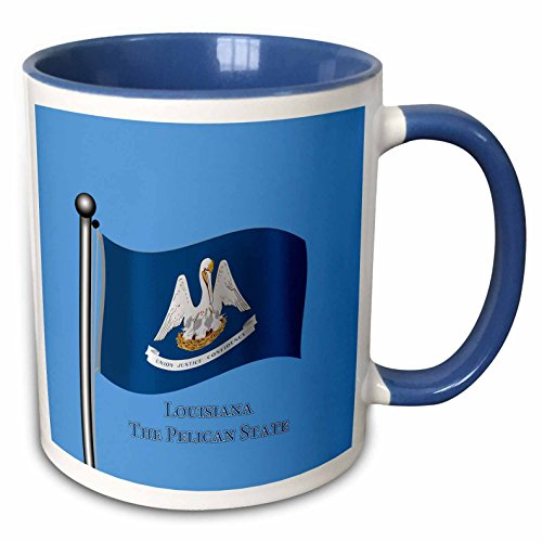 3dRose 777images Flags and Maps -States - Waving flag of the state of Louisiana with state name and nickname - 15oz Two-Tone Blue Mug (mug_192450_11)