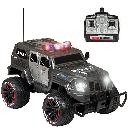 Best Choice Products 1/12 Scale 27Mhz RC SWAT Truck with Rechargeable Battery and USB Charger, Gray (Drift Remote Police Control Car)