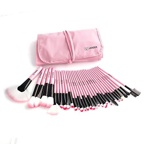 Vander Synthetic Kabuki Foundation Blending Makeup Brushes Kit with Bag - Pink