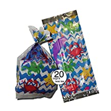 """Ocean Fish and Sea Theme Design Party Treat Clear Cellophane Bags, 11"""" With Silver Twist Ties - Bulk Wholesale Pack of 20"""