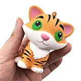 Celendi Squishy CuteTiger Toys Squeezable Toys Slow Rising Cream Scented Cure Pendant Collection