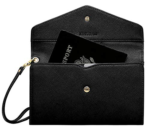 Krosslon Rfid Travel Passport Wallet for Women Slim Holder Wristlet Document Organizer, 1# Black ()