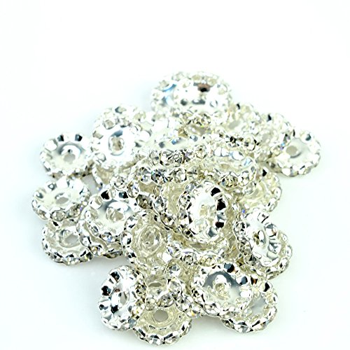 RUBYCA Top Quality 100pcs 6mm Wavy Rondelle Spacer Beads Silver Tone White Clear Czech Crystal