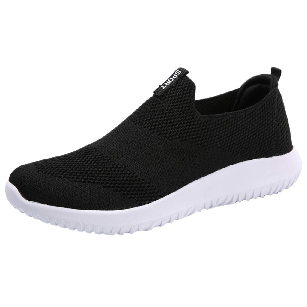 HENWERD Mesh Running Sneakers for Women Casual Lightweight Breathable Non Slip Sneakers (Black,7.5 US)