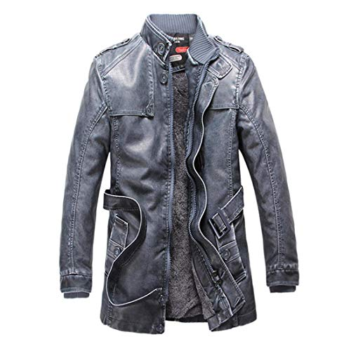 Winter Azul Collar Tamaño Xxl Moto Gabardina Pu Mens Espesar Abrigo Chaqueta color Larga Chaquetas De Hombres Cuero Ropa Fuweiencore Abrigo Rnq5pFan