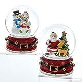 Kurt Adler 65 MM 1 Set 2 Assorted Santa And Snowmen Glitter Christmas Water Globes