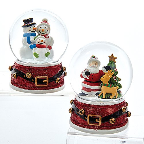 Halloween Snow Globe Costume (Kurt Adler 65 MM 1 Set 2 Assorted Santa And Snowmen Glitter Christmas Water Globes)