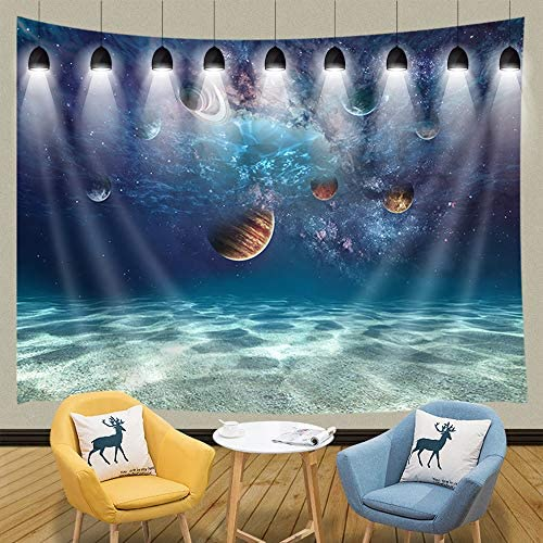 JAWO Space Decor Tapestry Wall Hanging, Creative Ocean Bottom Beach and Cosmic Planet, Polyester Fabric Wall Tapestry for Home Living Room Bedroom Dorm Decor 90W X 70L Inches