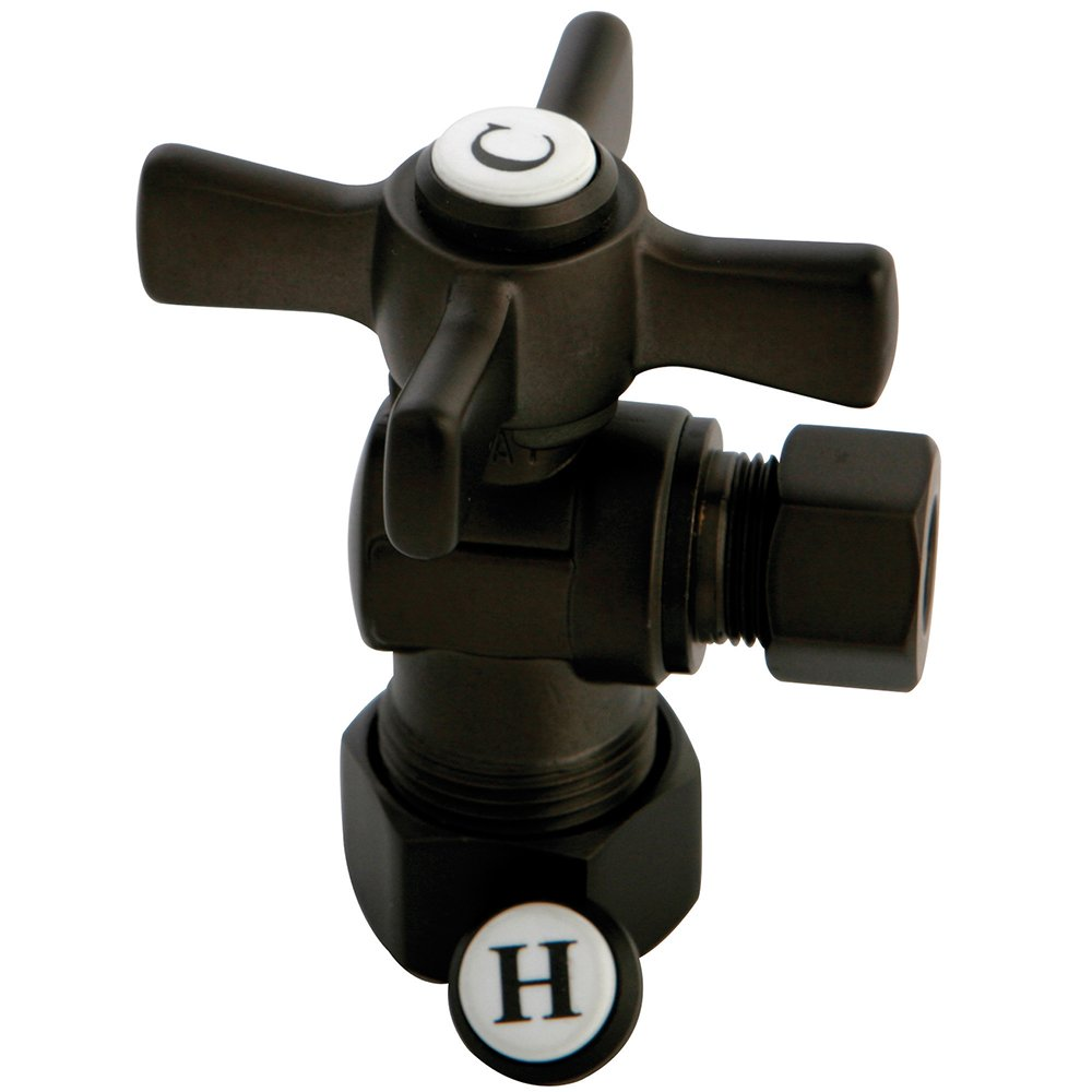 KINGSTON BRASS CC53305ZX Millennium 5/8-Inch X 3/8-Inch OD Compression Angle Stop with ZX Handle, Oil Rubbed Bronze