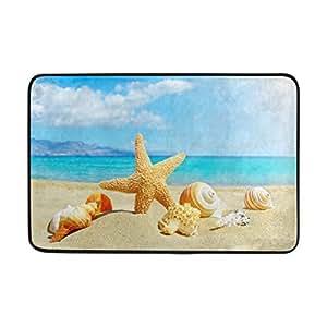 ALAZA 23,6x 15,7pulgadas antideslizante poliéster Felpudo verano playa con estrella de mar y conchas mar fondo lavable entrada alfombra para baño de interior planta salón Patio garaje