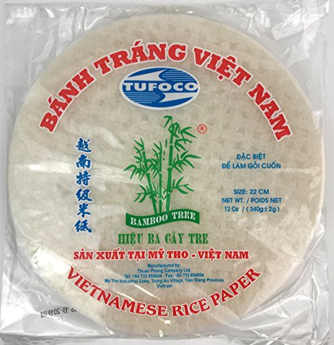 Spring Roll Wrapper Ingredients - Bamboo Tree Spring Roll Rice Paper Wrappers, 22cm (3 Packs)