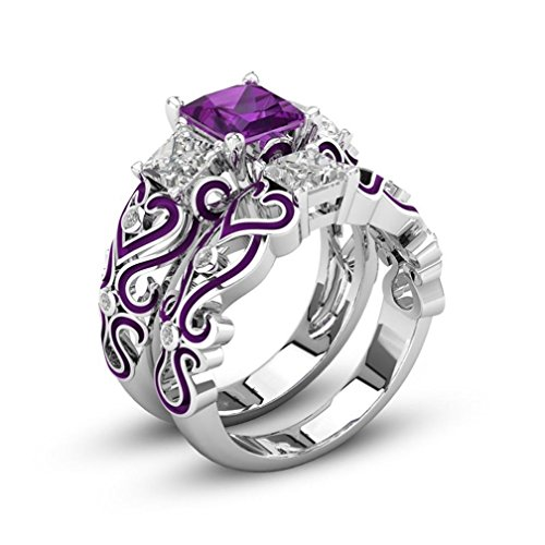 ILH® Clearance Rings,ZYooh Women 2-in-1 Jewel Ring Red Diamond Silver Engagement Wedding Band Heart Rings Bride Band (# 8, Purple)