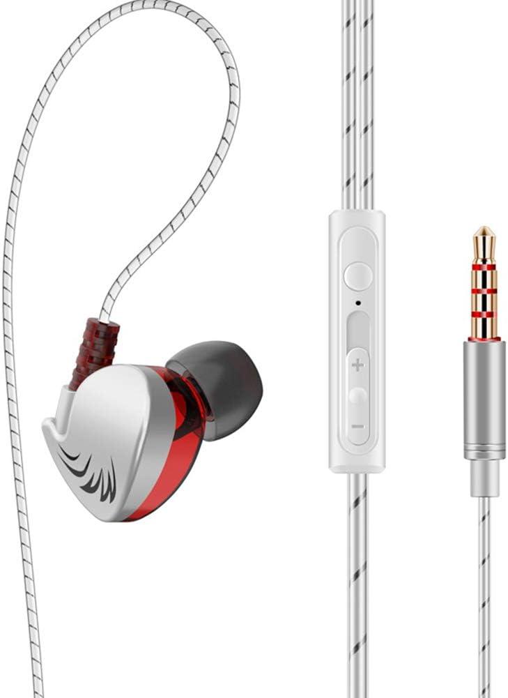WYKsoku Bluetooth Earphones Headphones, QKZ CK7 Fashon Sports Heavy Bass Phone Tablet 3.5mm Plug Wired in-Ear Earphones - Silver